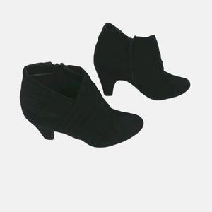 Suede feel black booties size 8